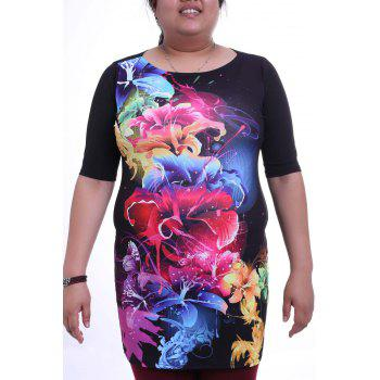 Elegant Round Collar 3/4 Sleeve Colorful Floral Print Plus Size Women's Dress