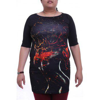 Stylish Round Collar 3/4 Sleeve Abstract Figure Print Plus Size Women's Dress
