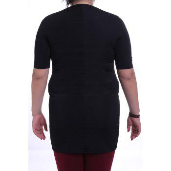 Graceful Round Collar 3/4 Sleeve Colorful Printed Plus Size Women's Dress - BLACK 6XL