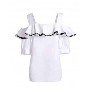 Preppy Style Women's Short Sleeve Ruffled Blouse