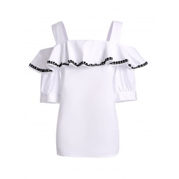Preppy Style Women's Short Sleeve Ruffled Blouse - WHITE 3XL