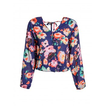 Stylish Women's V-Neck Long Sleeve Cut Out  Floral Print Blouse - PURPLISH BLUE PURPLISH BLUE