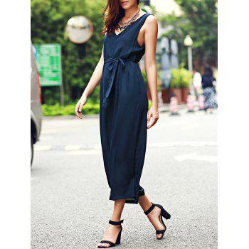 Casual V-Neck Belted Backless Wide-Leg Jumpsuit For Women