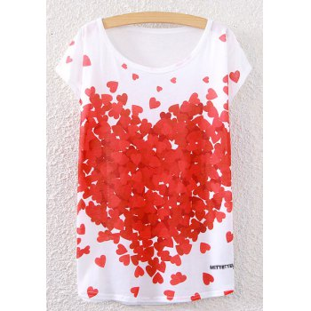 Scoop Neck Hearts Print T-Shirt