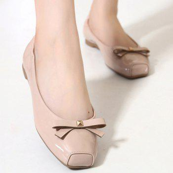 Casual Bowknot and Square Toe Design Women's Flat Shoes - APRICOT APRICOT