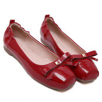 Casual Bowknot and Square Toe Design Women's Flat Shoes - 37 37