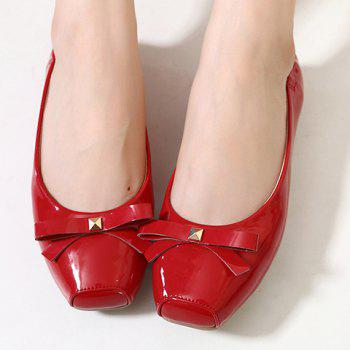 Casual Bowknot and Square Toe Design Women's Flat Shoes - RED RED