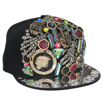 Stylish Buttons and Skeleton Embellished Men's Black Baseball Cap