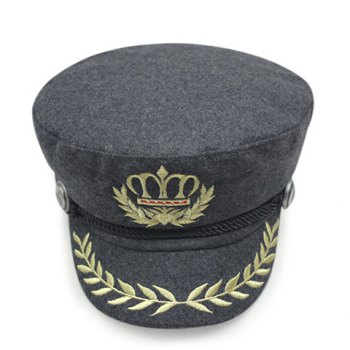 Stylish Olive Leaf and Crown Embroidery Men's Faux Wool Military Hat