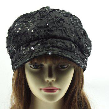 Chic Flower Shape and Sequins Embellished Women's Newsboy Hat