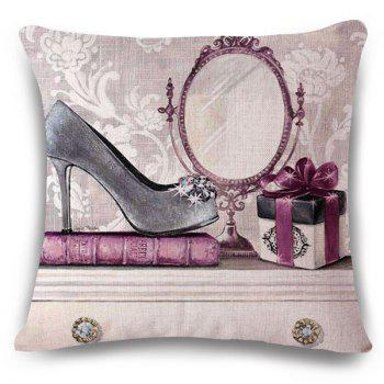 Fashionable Hand-Painted High Heels Pattern Square Shape Flax Pillowcase (Without Pillow Inner)