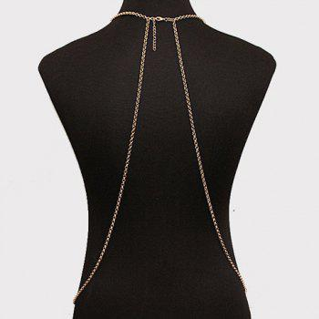 Crossed Faux Crystal Tassel Body Chain - GOLDEN