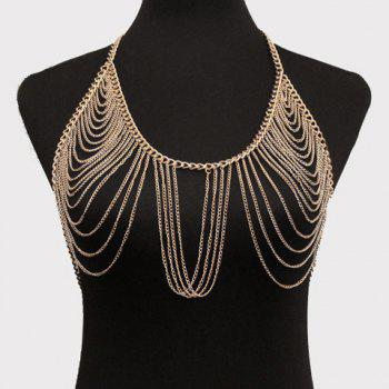 Buy Gorgeous Multilayer Solid Color Tassel Bra Body Chain Women GOLDEN