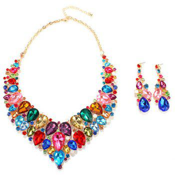 A Suit of Water Drop Necklace and Earrings Jewelry - COLORMIX