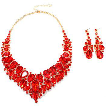 A Suit of Faux Ruby Water Drop Necklace and Earrings