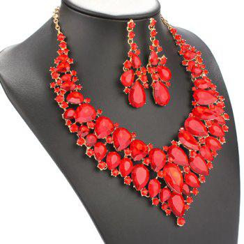 A Suit of Faux Ruby Water Drop Necklace and Earrings - RED