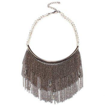 Water Drop Rhinestone Chain Fringed Necklace