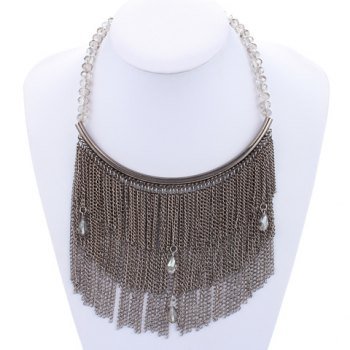 Water Drop Rhinestone Chain Fringed Necklace - GRAY