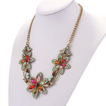 Colored Faux Crystal Flower Statement Necklace - COLORMIX