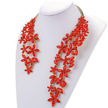 Flower Faux Crystal Cuff Necklace - RED