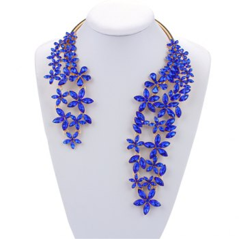 Floral Faux Crystal Cuff Necklace
