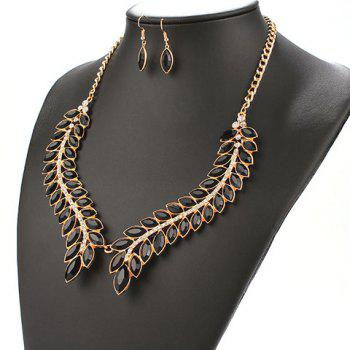A Suit of Leaf Faux Gem Necklace and Earrings - BLACK