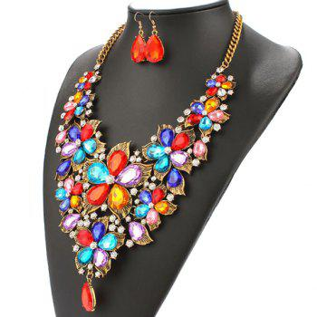 A Suit of Faux Pearl Rhinestone Blossom Necklace and Earrings - COLORMIX