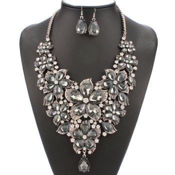 A Suit of Blossom Faux Pearl Necklace and Earrings
