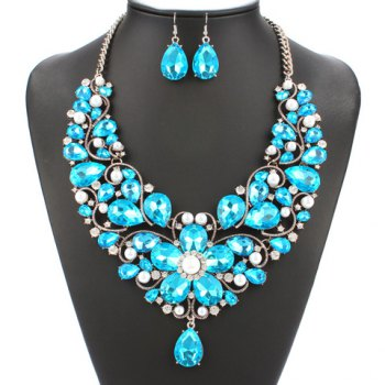 A Suit of Faux Pearl Floral Shape Necklace and Earrings