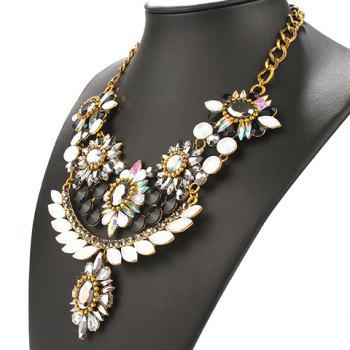 Faux Crystal Alloy Necklace - BLACK