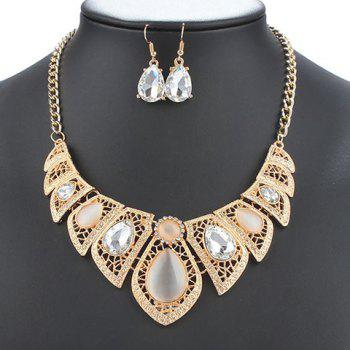 A Suit of Water Drop Faux Opal Necklace and Earrings - GOLDEN