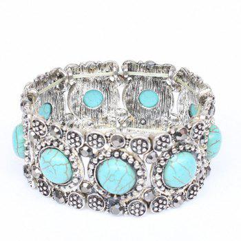 Faux Turquoise Round Carving Bracelet