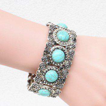 Faux Turquoise Round Carving Bracelet - SILVER