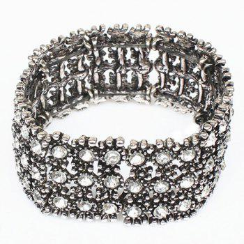 Rhinestone Hollow Out Elastic Bracelet