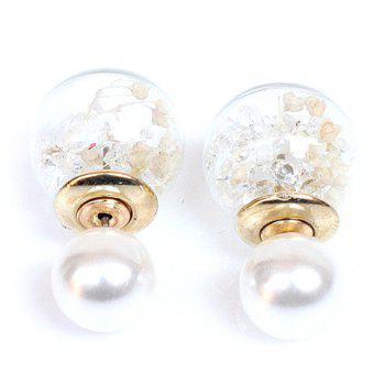 Pair of Rhinestone Faux Pearl Glass Ball Stud Earrings