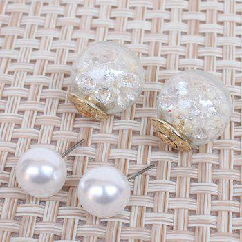 Pair of Rhinestone Faux Pearl Glass Ball Stud Earrings - COLORMIX