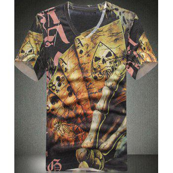 V Neck Poker Printed Short Sleeves T Shirt For Men