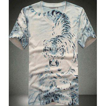 V Neck Tiger Printed Short Sleeves T Shirt For Men