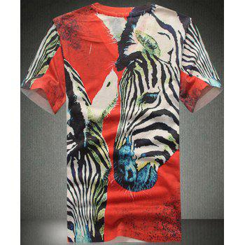 Slim Fit Horse Printed V-Neck Short Sleeves T-Shirt For Men - RED M