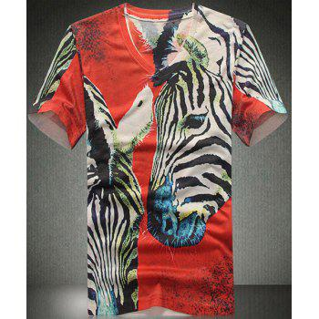 V Neck Horse Printed Short Sleeves T Shirt For Men