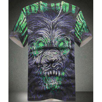 V Neck Animal Printing Short Sleeves T Shirt For Men