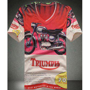 V Neck Motorcycle Printing Short Sleeves T Shirt For Men