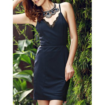 Sexy Women's Spaghetti Strap Purplish Blue Dress
