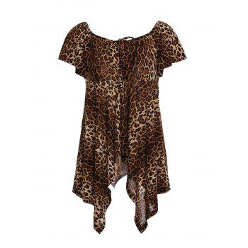Chic Square Neck Asymmetrical Leopard Print Women's T-Shirt