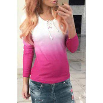 Casual Women's Scoop Neck Long Sleeve Ombre Lace-Up T-Shirt