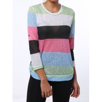 Trendy 3/4 Sleeve Scoop Neck Striped Colored Women's T-Shirt - GREEN M