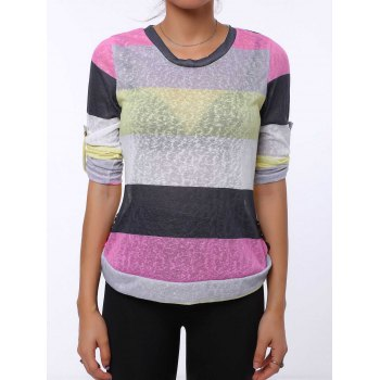 Trendy 3/4 Sleeve Scoop Neck Striped Colored Women's T-Shirt