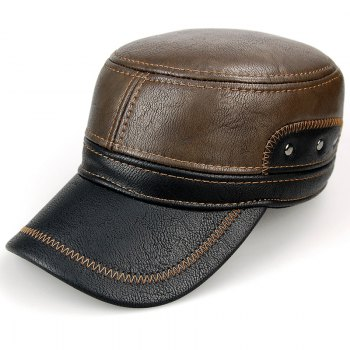 Stylish Sewing Thread and Stud Embellished Men's PU Military Hat