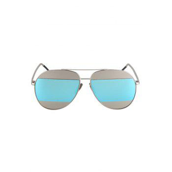 Chic Irregular Lenses Silver Alloy Sunglasses For Women -  LIGHT BLUE