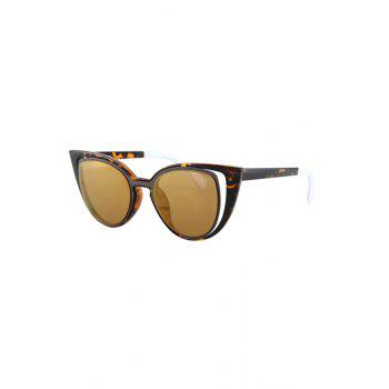 Hollow Out Frame Flecky Faux Amber Polarized Sunglasses